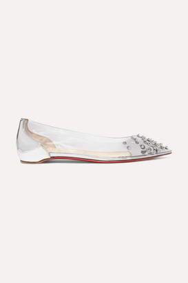 Christian Louboutin Collaclou Spiked Pvc And Mirrored-leather Point-toe Flats - Silver
