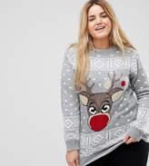 Club L Plus Reindeer Christmas Jumper