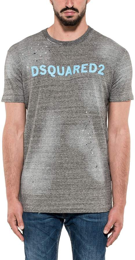 DSQUARED2 Gray Printed Cotton Jersey T-shirt