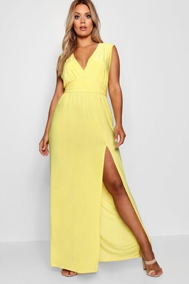 boohoo Plus Plunge Slinky High Split Maxi Dress