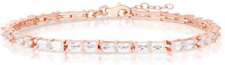 Sphera Milano 14K Rose Gold Over Silver Cz Baguette Tennis Bracelet