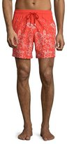 Vilebrequin Moorea Bubbles Turtles Printed Swim Trunks, Red