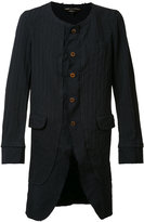 Comme des Garcons pinstripe collarless coat - men - Polyester/Cupro - M