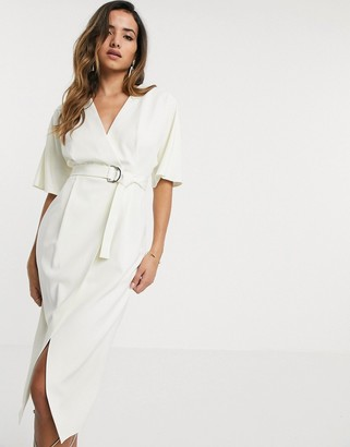 ASOS DESIGN wrap front midi dress with d ring belt in ivory