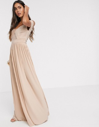 Bardot ASOS DESIGN premium lace and pleat maxi dress in champagne