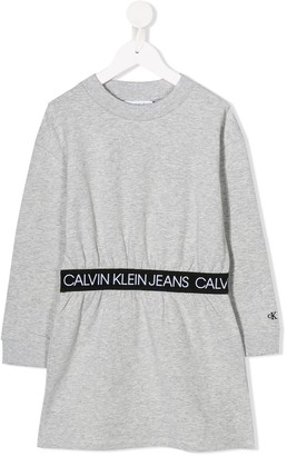 Calvin Klein Kids gathered-waist sweatshirt dress