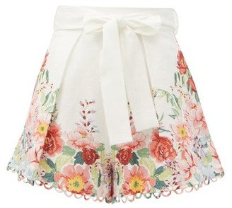 Zimmermann Bellitude Floral-print Linen-poplin Shorts - White Print