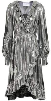 Perseverance Ruffle-trimmed Silk-blend Lame Wrap Dress