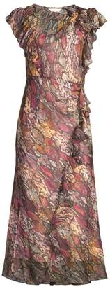 Rebecca Taylor Met Python Print Ruffled Midi Dress