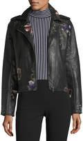Brandon Thomas Embroidered Vegan-Leather Moto Jacket