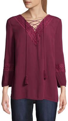 ST. JOHN'S BAY Womens V Neck 3/4 Sleeve Lace Up Blouse