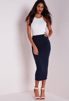 Missguided Longline Jersey Midi Skirt Navy