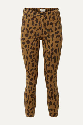 L'Agence Margot Cropped Leopard-print High-rise Skinny Jeans - Brown