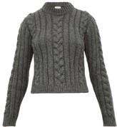 Ganni Cable Knit Alpaca-blend Sweater - Womens - Grey