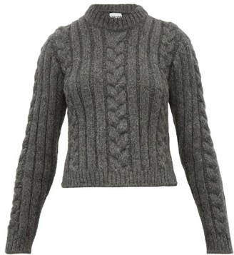 Ganni Cable Knit Alpaca-blend Sweater - Womens - Grey