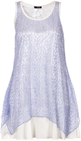 Quiz Blue Lace Chiffon Hem Sleeveless Top