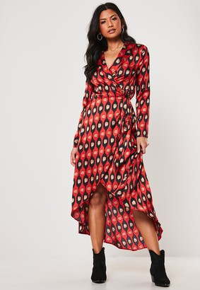 Missguided Red Leopard Print Wrap Shirt Maxi Dress