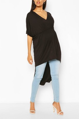 boohoo Maternity Ruched Front Tunic Top