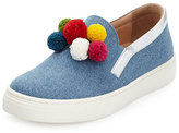 Aquazzura Pompom Denim Slip-On Sneaker, Blue, Youth
