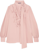 Alexander McQueen Pussy-bow Ruffled Silk-georgette Blouse - Blush