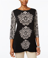 JM Collection Petite Printed Boat-Neck Top, Only at Macy's
