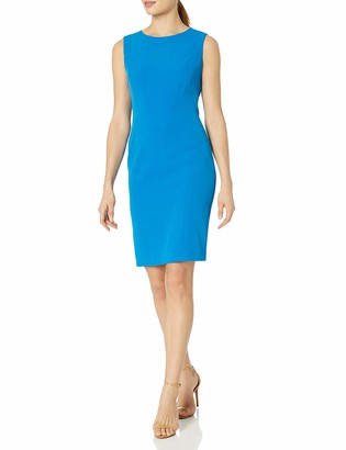 Kasper Women's Solid Round Neck Stretch Crepe Dress