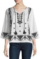 Figue Javanna 3/4-Sleeve Embroidered Top, Ivory