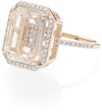 Mateo 14kt yellow gold diamond E initial ring