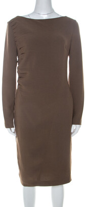 Escada Olive Green Crepe Side Pleated Long Sleeve Shift Dress M