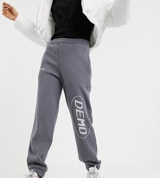 Collusion fleece jogger with placement print in grey