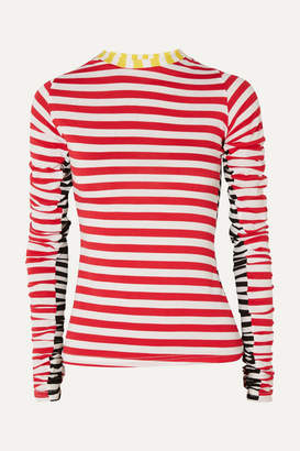 Preen Line Uri Ruched Striped Stretch-jersey Top - Red