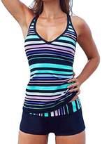 Eternatastic Women's Stripes Tankini Swimwear With Boxer Two Pieces Swimsuit L