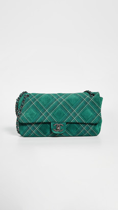 What Goes Around Comes Around Chanel Green Suede Stitch Jumbo