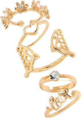 Capelli New York 5-Piece Love & Butterfly Rings