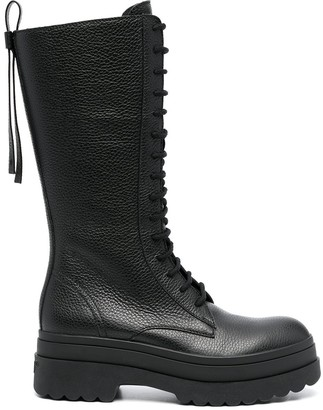 Red(V) Lyered Combat lace-up boots