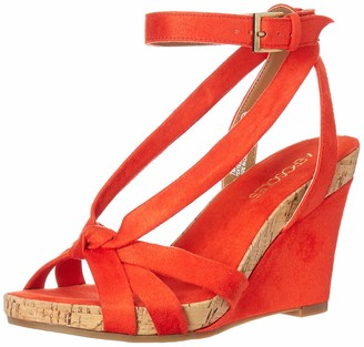 Aerosoles Women's Fashion Plush Wedge Sandal - Open Toe Strap Platform Heel Shoe with Memory Foam Footbed (6M - Orange Fabric)