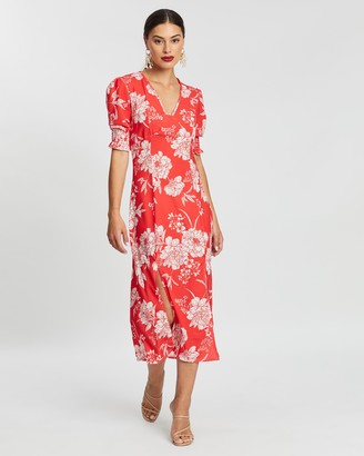 boohoo Floral Print Double Split Midi Dress
