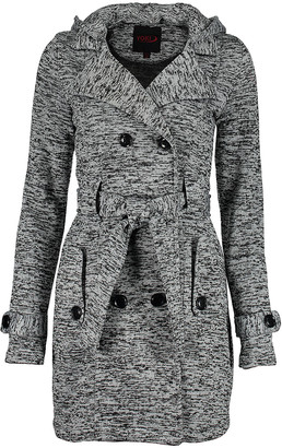 Yoki Women's Fleece Jackets Heather - Heather Gray Space-Dye Fleece Trench Hooded Jacket - Women