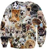 Pink Wind Women's Cat 3D Printed Crew Neck Pullover Sweater Sweatshirt XXL