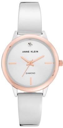 Anne Klein Womens 2-Tone Rosetone Diamond Semi-Bangle Bracelet Watch