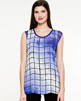 Le Château Brushstroke Grid Short Sleeve Top