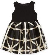 Milly Minis Sleeveless Ponte & Jacquard Combo Dress, Black/White, Size 2T-6