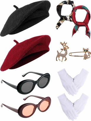 Satinior Beret Hats Satin Scarf Gloves Crystal Brooch Oval Sunglasses for Clothing Accessories 10 Pieces