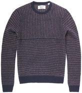 Original Penguin Turned Blocked Jacquard Stripe Crew Neck Sweater
