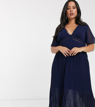 Little Mistress Plus lace insert pleat midi dress in navy