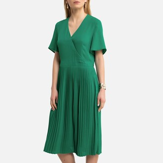 Anne Weyburn Recycled Pleated Dress with Short Sleeves