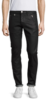 Alexander McQueen Coated Leather Trimmed Slim Jeans