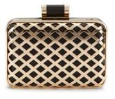 Franchi Dottie Faux Leather-Accented Lattice Clutch