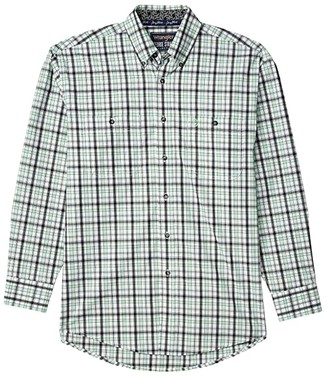 Wrangler George Strait Long Sleeve Plaid Two-Pocket Button (Mint) Men's Clothing
