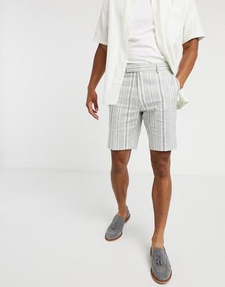 ASOS DESIGN smart shorts in grey linen stripe